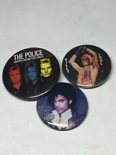 Vintage 1980's Pinback Buttons 1983 The Police, Billy Idol, Prince