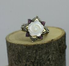 Barbara Bixby 925 SS & 18k Rhodolite Garnet Mother Of Pearl Ring Size 10