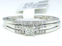 10k White Gold Princess Cut Engagement Bridal Solitaire Diamond Ring Set 0.21 Ct