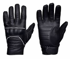 FullGrain Cowhide Motorcycle Biker Riding Gloves Black With Reflective PipingG13