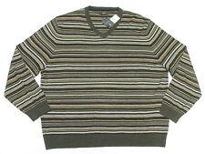 $85 NWT NEW Mens Club Room Merino Wool Blend Striped V-Neck Sweater XXL 2XL N295
