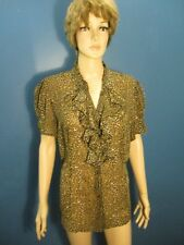 Plus Size 1X brown ANIMAL PRINT SHEER RUFFLE COLLAR blouse by WORTHINGTON