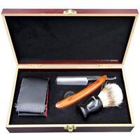 Shave Kit Men Straight Razor Shaving Brush & Leather Strop Gift Set With Box j53