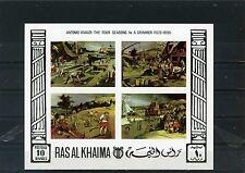 RAS AL KHAIMA 1969 Mi#Bl.70B PAINTINGS SHEET OF 4 STAMPS IMPERF MNH