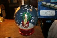 "Large Disney Gemmy 12"" Tinkerbell Snowglobe Musical Glitter and Garland And Gold"