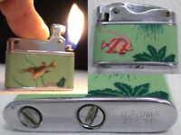 Briquet ancien * Sunflower Art Déco * Vintage Fuel Lighter Feuerzeug Accendino