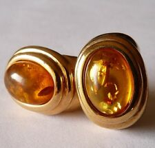 SOLID SILVER AMBER BALTIC EARRINGS / BIJOUX VINTAGE B.O ARGENT PL OR ET AMBRE