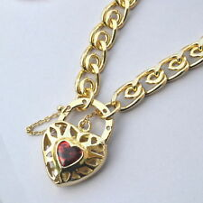 New 9K Yellow Gold Filled Ruby Crystal Filigree Heart Pendant Necklace