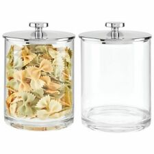 mDesign Modern Round Storage Canister Jar for Kitchen, 2 Pack - Clear/Chrome