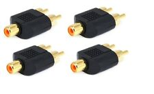 4x RCA Splitter 1 Female Jack to 2 RCA Male Plug Audio Y Adapter Converter