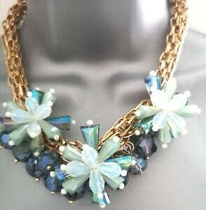 Accessorize Multi Faceted Necklace Crystal Flower Cluster Aurora Party Wedding