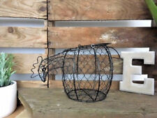 Chicken / Hen Shaped Wire Egg Basket Metal Storage Holder Shabby Vintage Style