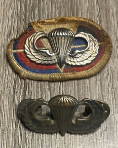 Vtg Lot US Army Airborne Paratrooper Silver Filled Jump Wings Badge Patch