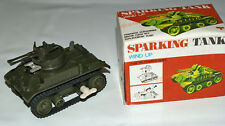 Sparking Tank-wind up-Friction Drive-Made in Hong Kong-Powerful Clockwork-1970s