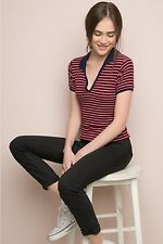 brandy melville Red/white ribbed striped collared knit babe top NWT S/M