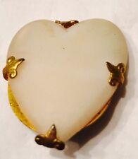"""Victorian Era Polished Heart Stone Fluir De Lis Prong Set Gilded Brass 1 1/2"""""""
