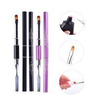 Dual-Ended UV Poly Builder Gel Nail Art Pen Brush Slice Shape DIY Tool Manicure