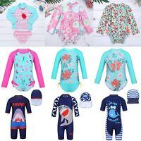 Kids Girls Long Sleeve Rash Guard Swimsuit UV Protect Surfing Bathers Swimwear