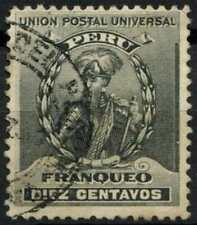 Peru 1896-1900 SG#343, 10c Black, Pizarro Used #E1277