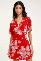 FREE PEOPLE BLUE HAWAIIAN MINI SHIRT DRESS Red Floral UK 8 / 36 - NEW