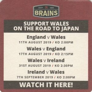 BEERMAT - BRAINS BREWERY - SUPPORT WALES - (Cat No 255) - (2019)