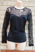 H&M BLACK SATIN LACE INSERTED LONG SLEEVE PARTY BLOUSE T SHIRT TOP 6 8