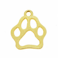 10 pcs Golden Metal Alloy Animal Footprint Cat Dog Paw Pendant Charm DIY 17x16mm