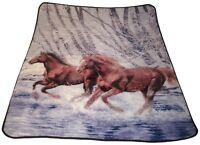 Biederlack Horses Fleece Throw Blanket Reversible 70 x 60