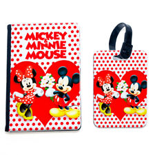 Mickey Giving Flowers Minnie Mouse Red Heart Dot Polka Passport Case Cover Tag