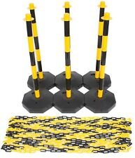 Yellow & Black Safety Barrier Security Fence Post Base Set & 15mtr Plastic Chain