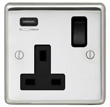 POLISHED STAINLESS STEEL SINGLE SOCKET OUTLET WITH SINGLE USB SOCKET, BLACK TRIM
