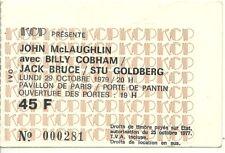 RARE / TICKET BILLET PLACE CONCERT - JOHN McLAUGHLIN : LIVE A PARIS FRANCE 1979
