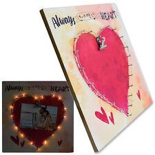 LED Bilderrahmen 15x10cm beleuchtet Holz Fotorahmen Leuchtrahmen Leuchtbild Herz