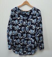 Joules Rosamund popover blouse size 14 blue floral flowers shirt top