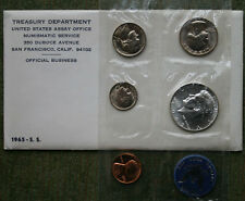 1965 United States Special Mint Set SMS 5 Coin 40% Silver Kennedy Complete