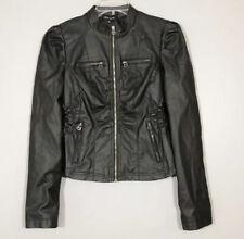 New Look Medium Women PU Vegan Synthetic Faux Leather Black Moto Biker Jacket