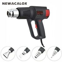 NEWACALOX 1500W Electric Hot Air Heat Gun Car Hair Dryer Temp Adjust US + Nozzle