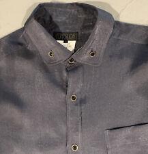 Matsuda Men's Grey Shiny Rayon Shirt, 50, Medium