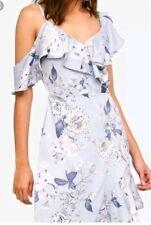 BNWT Lipsy Size 10 Silver Gardina Flower Cold Shoulder Dress, satin feel