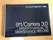 Porsche 911 S SC 2.7 3.0 Carrera driver's manual 1976 maintenance record book