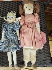 "2 16"" and 13"" late 1930s/40s vintage, Edith Flack Ackley, handmade cloth dolls"
