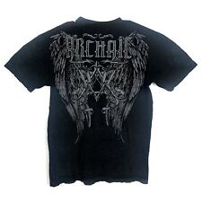 Affliction Mens Size Large Black Archaic Angel Wings Distressed T Shirt