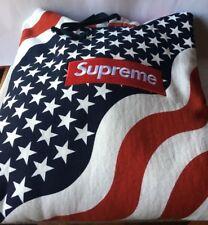 Supreme BANDIERA USA BOX LOGO Pullover Con Cappuccio SZ M MEDIUM PCL NERO CDG 2014 F / W