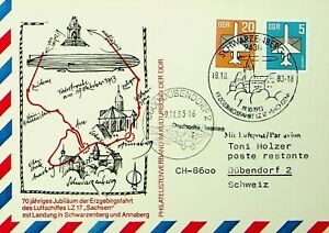 GERMANY DDR 1983 ZEPPELIN LZ 17 SACHSEN LANDING CARD W/ 2v TO SWITZERLAND