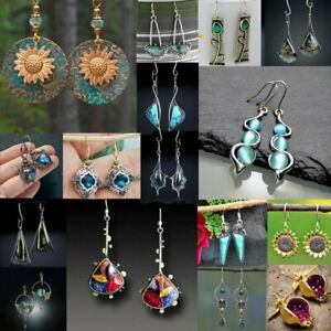 925 Silver Turquoise Crystal Earrings Pearl Ear Hook Dangle Drop Gift Jewelry