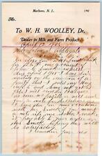 1905 MARLBORO NEW JERSEY*W H WOOLLEY*MILK & FARM PRODUCE DEALER*JOHN APPLEGATE