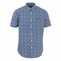 Men's Ben Sherman Floral Print Short Sleeved Button Down Collar Shirt in Blue