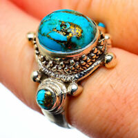 Blue Copper Turquoise 925 Sterling Silver Ring Size 7 Jewelry R28378F