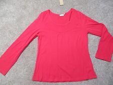 Ladies New Look BNWT dark pink thin cotton long sleeve scoop neck top size 18