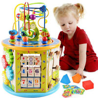 Multiplay Activity Cube,Baby Wooden Activity Cube Toys Bead Maze Educational Toy
